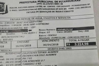 Conta d'água de R$ 3 mil assusta e revolta moradora de Pitangueiras