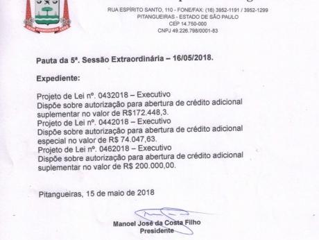 """Câmara de Pitangueiras realiza """"extraordinária"""" hoje à tarde"""
